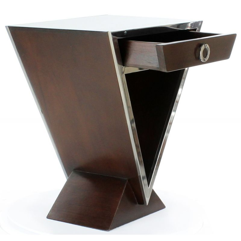 Table de chevet design marron delta saulaie - Table de chevet design ...