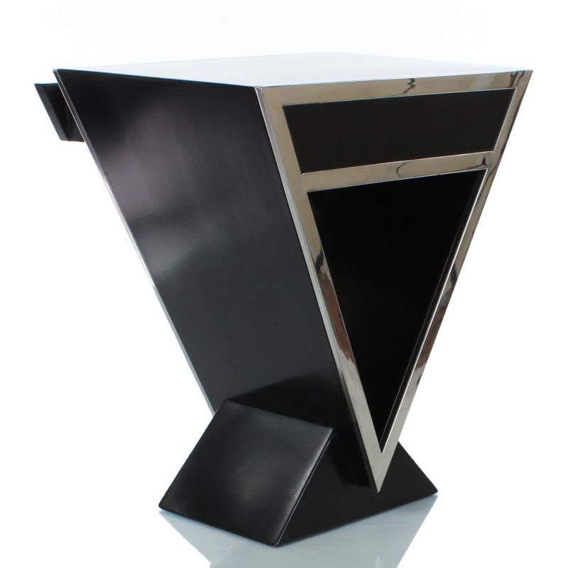 Table de chevet design noire delta saulaie for Table de chevet noir