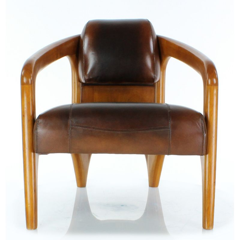 fauteuil scandinave cuir marron vintage lund ebay. Black Bedroom Furniture Sets. Home Design Ideas