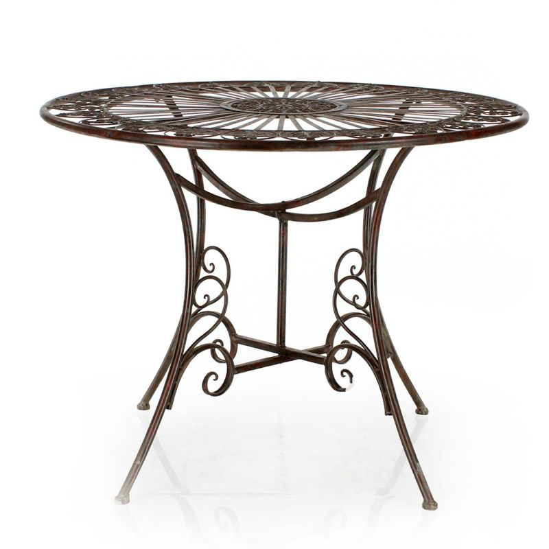 Table pliante de jardin en fer forg saulaie - Table de jardin ronde en fer forge ...
