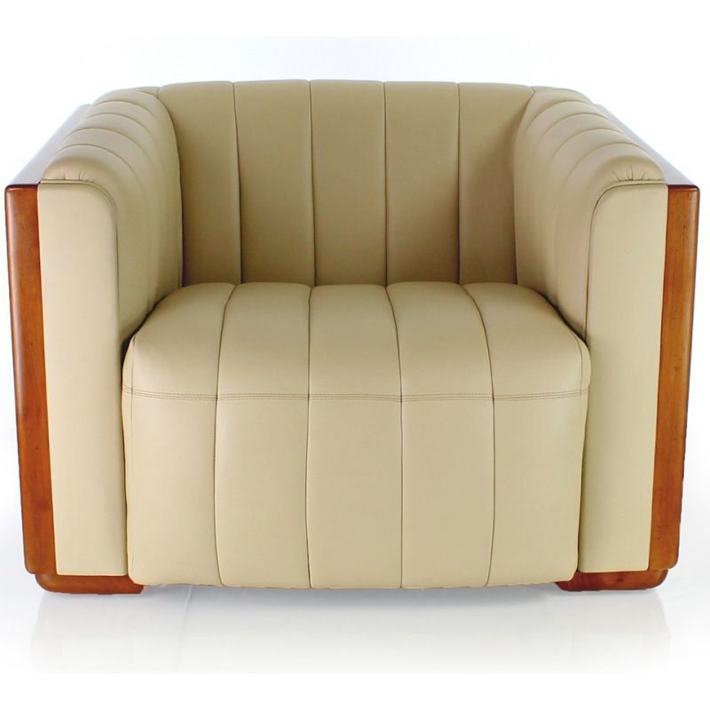 fauteuil club bois et cuir beige belem ebay. Black Bedroom Furniture Sets. Home Design Ideas