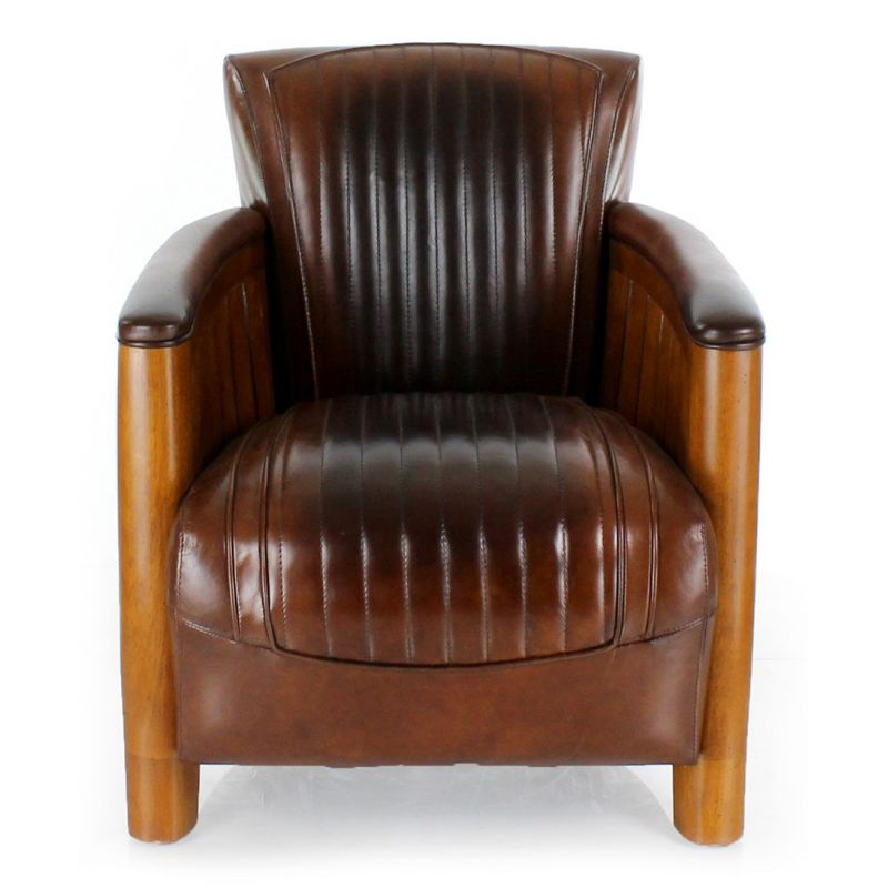 fauteuil club bois et cuir marron vintage cognac ebay. Black Bedroom Furniture Sets. Home Design Ideas