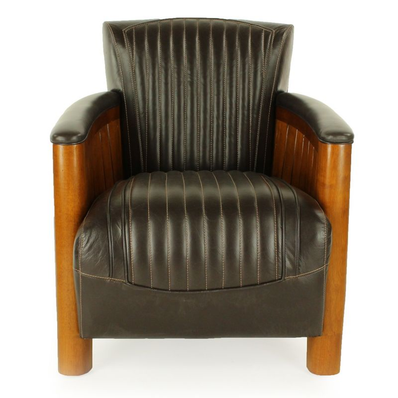 fauteuil club bois et cuir brun cognac ebay. Black Bedroom Furniture Sets. Home Design Ideas