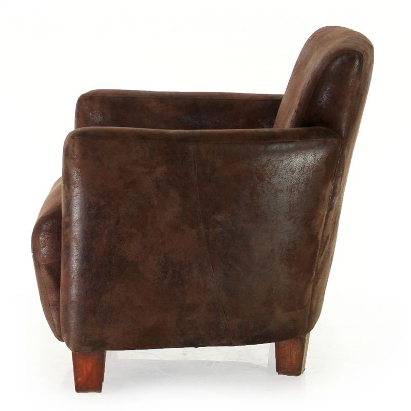 fauteuil club tissu chocolat alma ebay. Black Bedroom Furniture Sets. Home Design Ideas