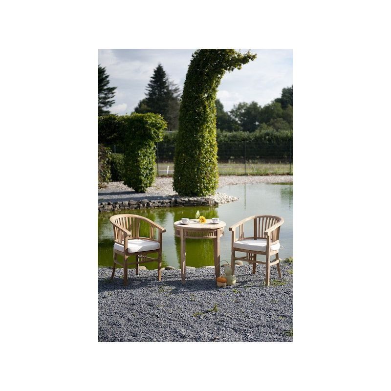 table de jardin ronde en teck chantilly saulaie. Black Bedroom Furniture Sets. Home Design Ideas