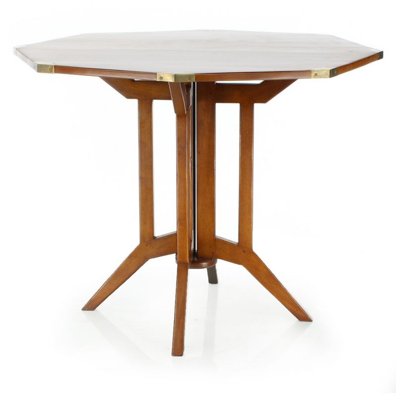 Table pliante octogonale en bois officier saulaie for Table pliante gain de place