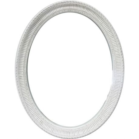 Oval mirror in white wood