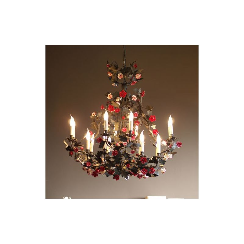 Red and white suspended light fitting - Carrousel
