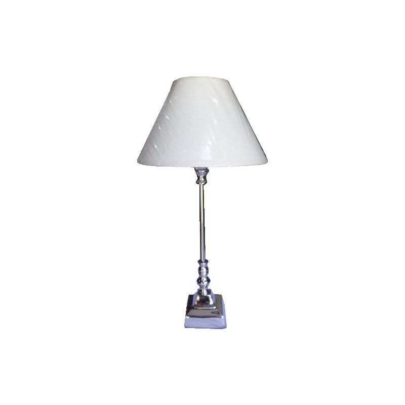 Silver-plated lamp with square base
