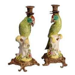 Parrot candlesticks (pair)