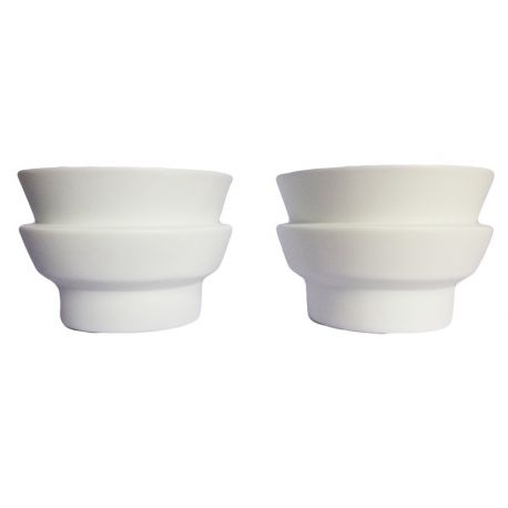 White candle-holders in biscuit porcelain