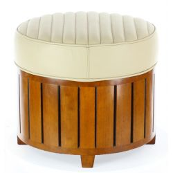 Beige round leather pouf - La Pérouse