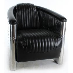 Aviator Club Armchair, Black Leather