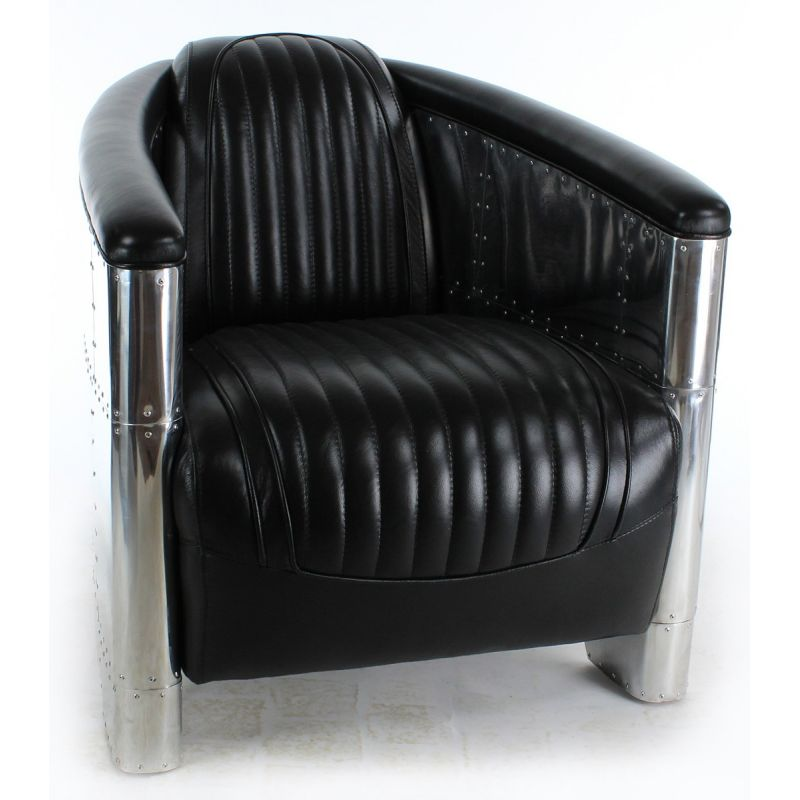 fauteuil club aviateur cuir noir saintex saulaie. Black Bedroom Furniture Sets. Home Design Ideas