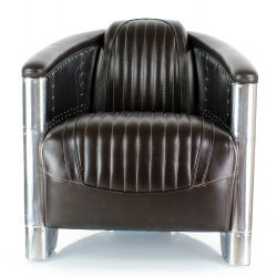 Brown leather club armchair - Aviator