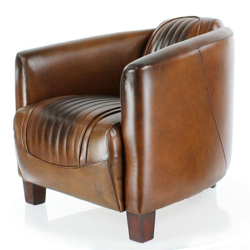 fauteuil club barquette sport cuir vintage saulaie. Black Bedroom Furniture Sets. Home Design Ideas