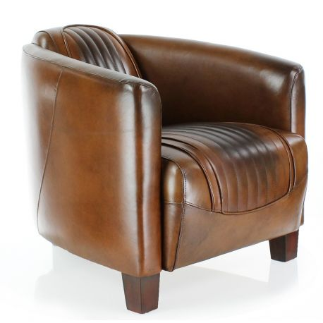 fauteuil club cuir marron vintage opera sport saulaie. Black Bedroom Furniture Sets. Home Design Ideas