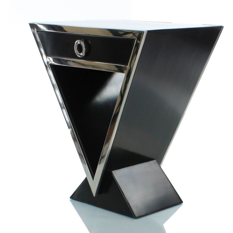 Table de chevet design noir delta saulaie - Table de chevet noire ...