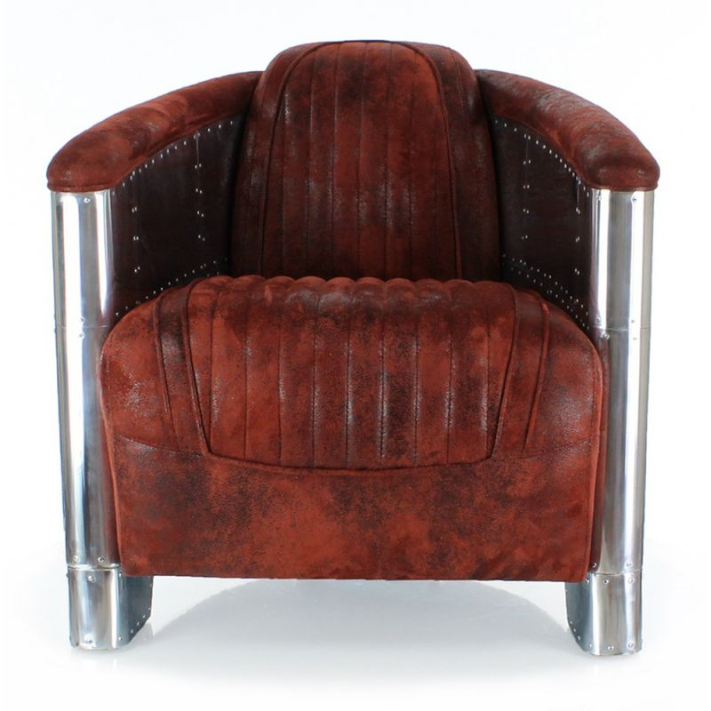 fauteuil club tissu rouge aviator saulaie. Black Bedroom Furniture Sets. Home Design Ideas