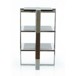 Stainless steel occasional table, X-shaped support - La Boétie