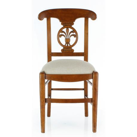 Chair in solid wood and beige fabric - Palm leaf