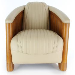 Club Easychair beige leather - La Pérouse