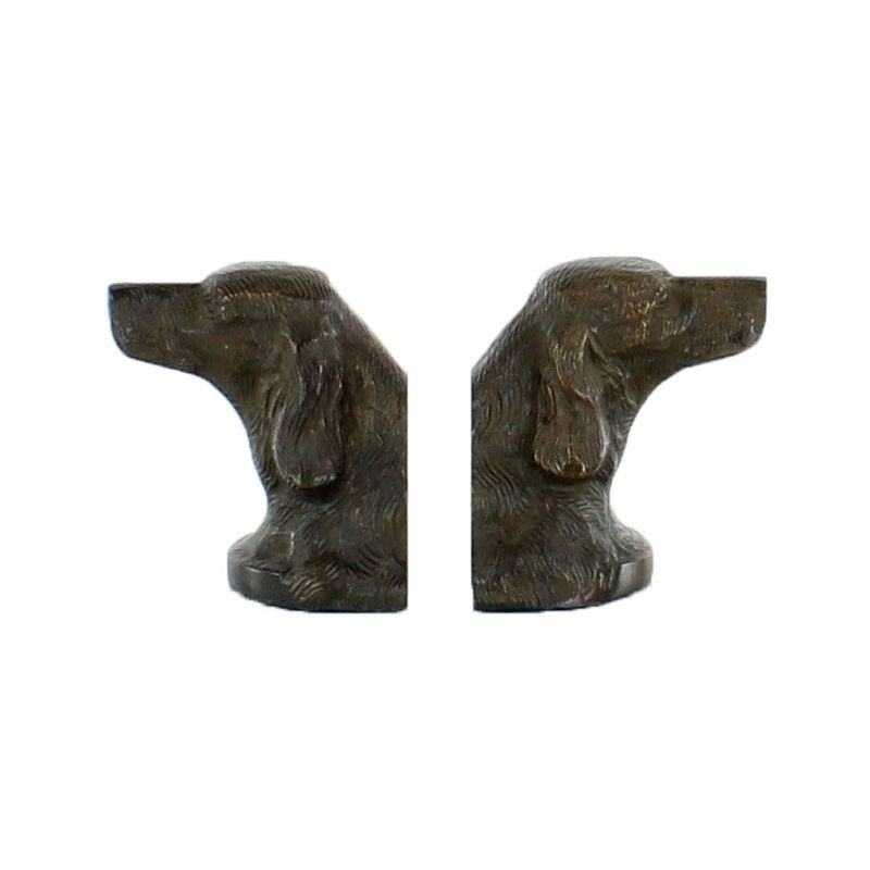 Bronze dogs' head bookends