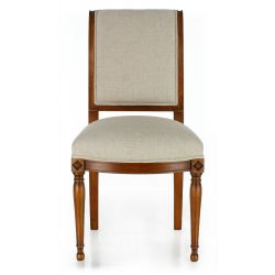 Wood and Beige Fabric Chair - Directoire