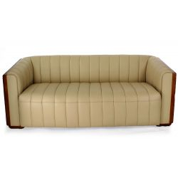 Ivory Beige leather and wood 3 seater club sofa - Belem