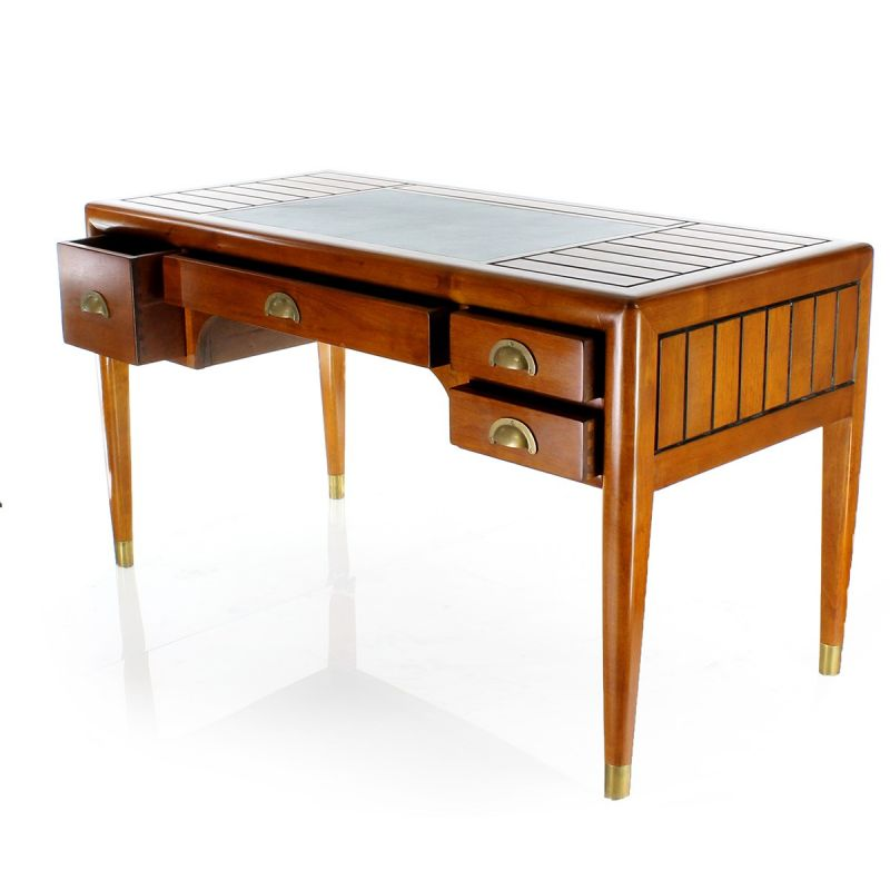 Solid wood desk, leather top L140cm - La Pérouse