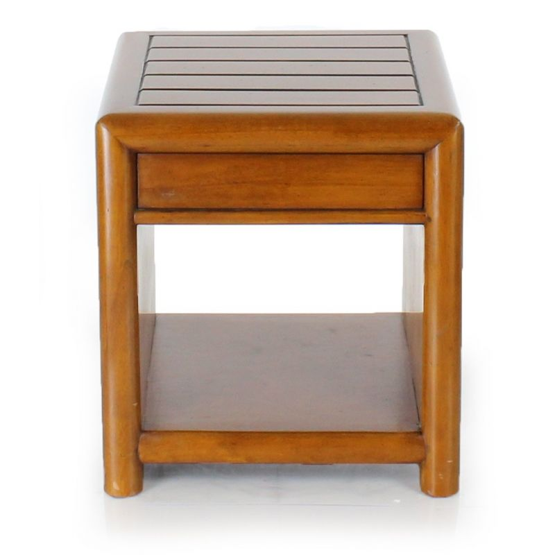 Sofa end table in wood with drawer - La Pérouse