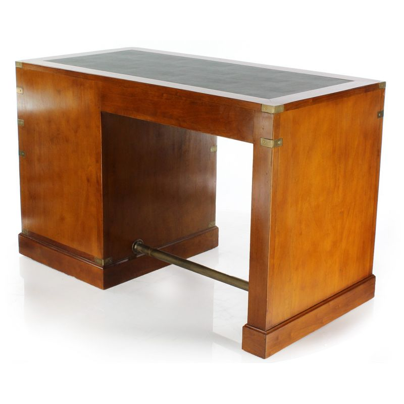 Wood and leather desk - Officier, 5 drawers