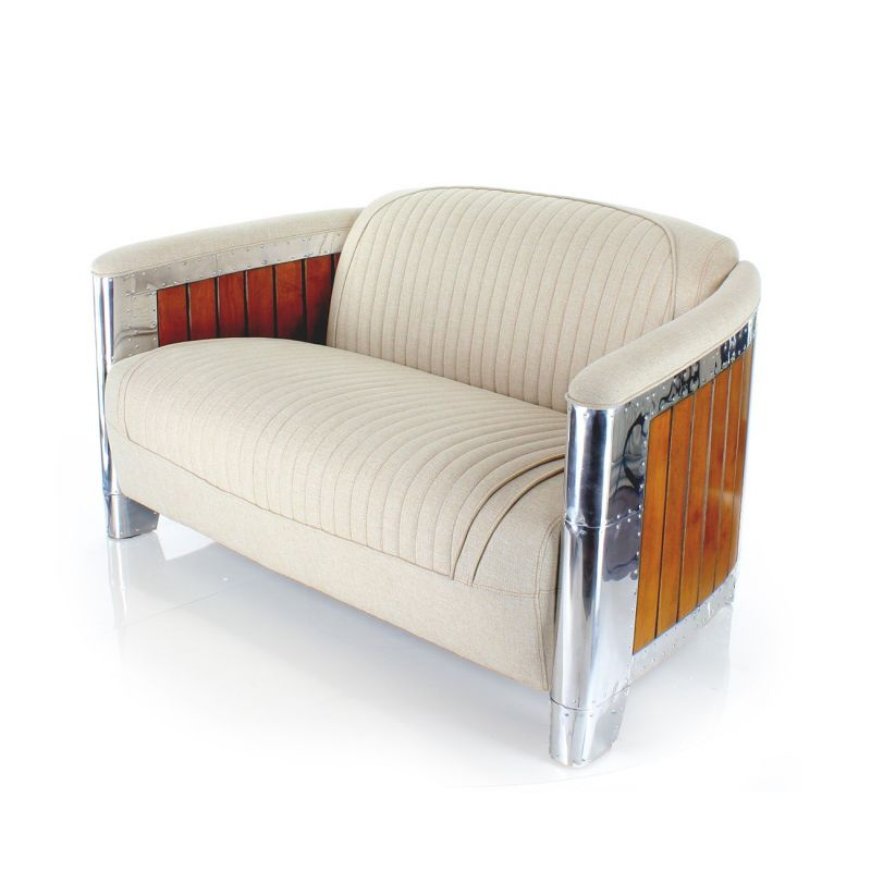 Beige fabric upholstered club sofa - Normandie