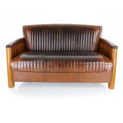 Vintage brown leather club sofa - Cognac