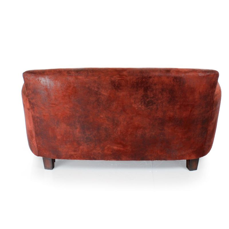 Canap club tissu rouge vintage alma saulaie - Canape tissu vintage ...