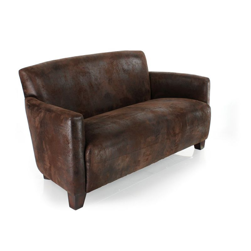 Chocolate brown fabric club sofa - Alma