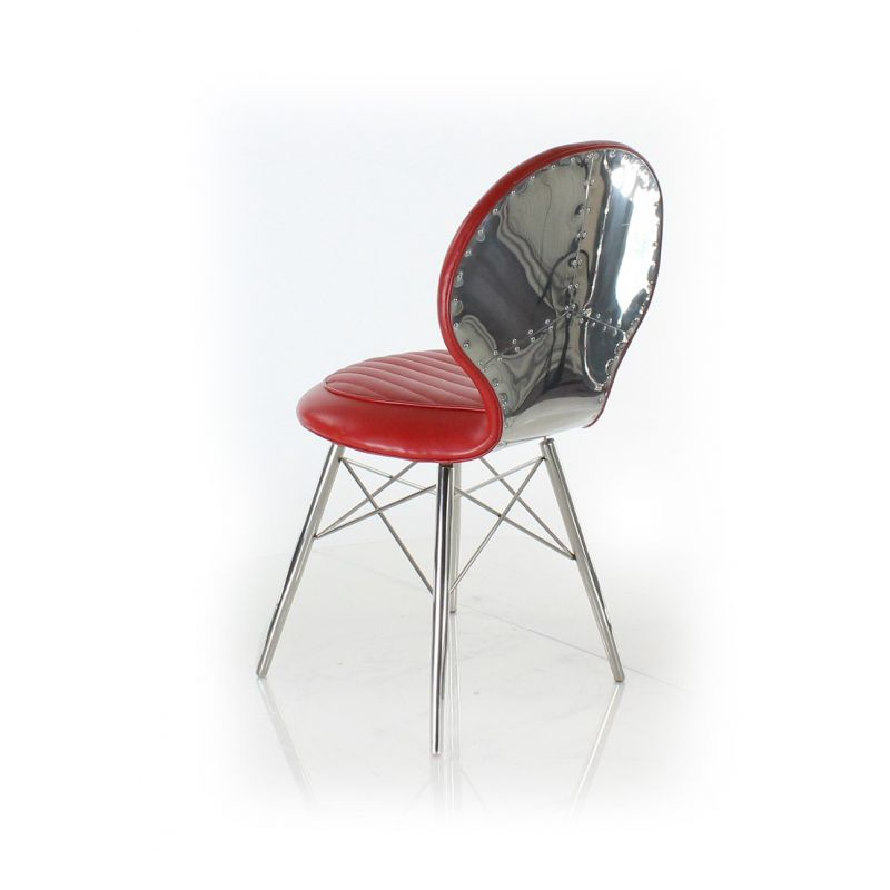 Chaise design cuir rouge artis saulaie for Chaise design rouge