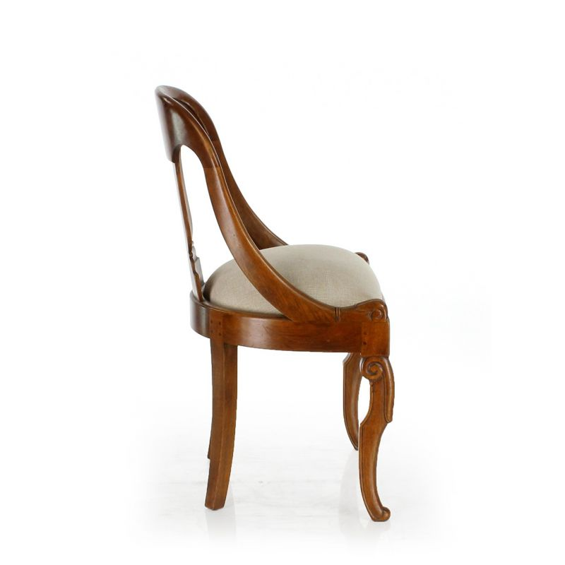 Walnut - stained wooden chair - Gondole