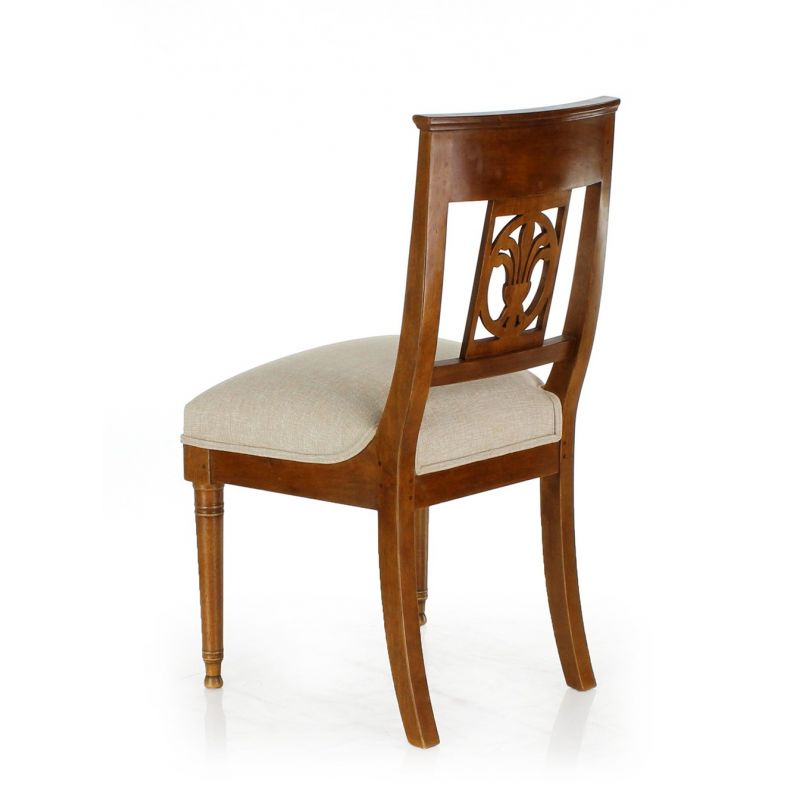 Palmette Wood and Fabric Chair