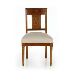 Antique style chair in wood and fabric - Palm leaf