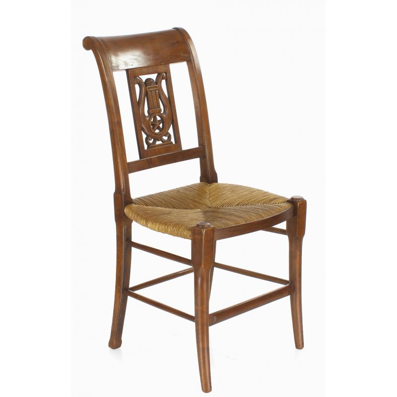 Wooden and straw chair - Lyre