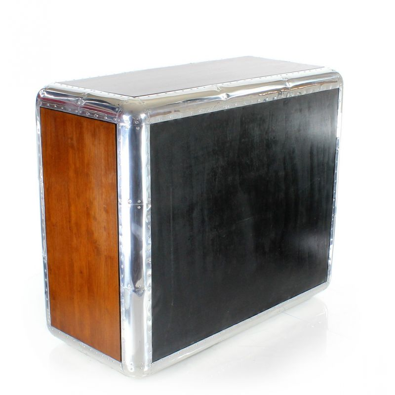 3-Drawer Chest of Drawers in Wood and Aluminum - Baron