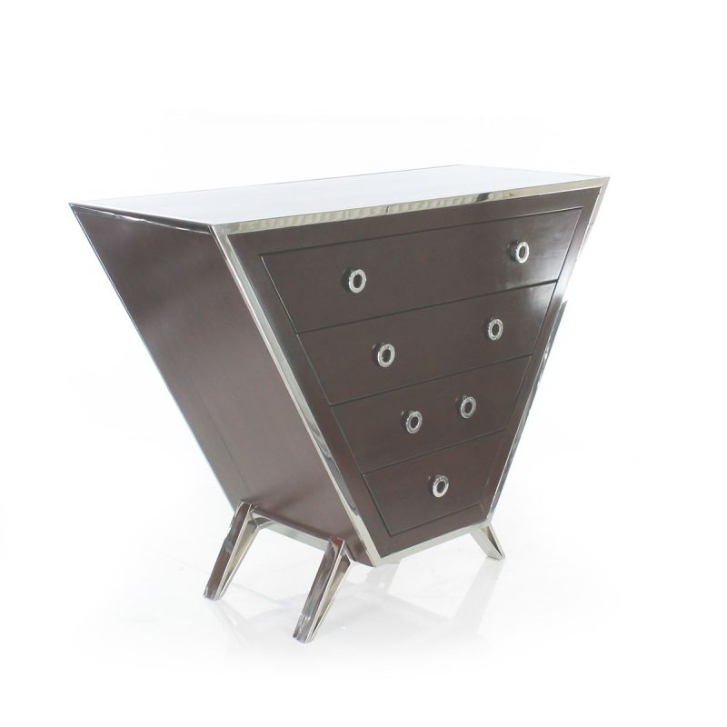 Wood and stainless steel chest of drawers - Bourget