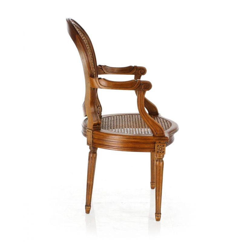 Cane and moulded Louis XVI armchair