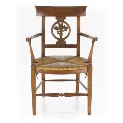 Antique chair with straw seat - Flowers