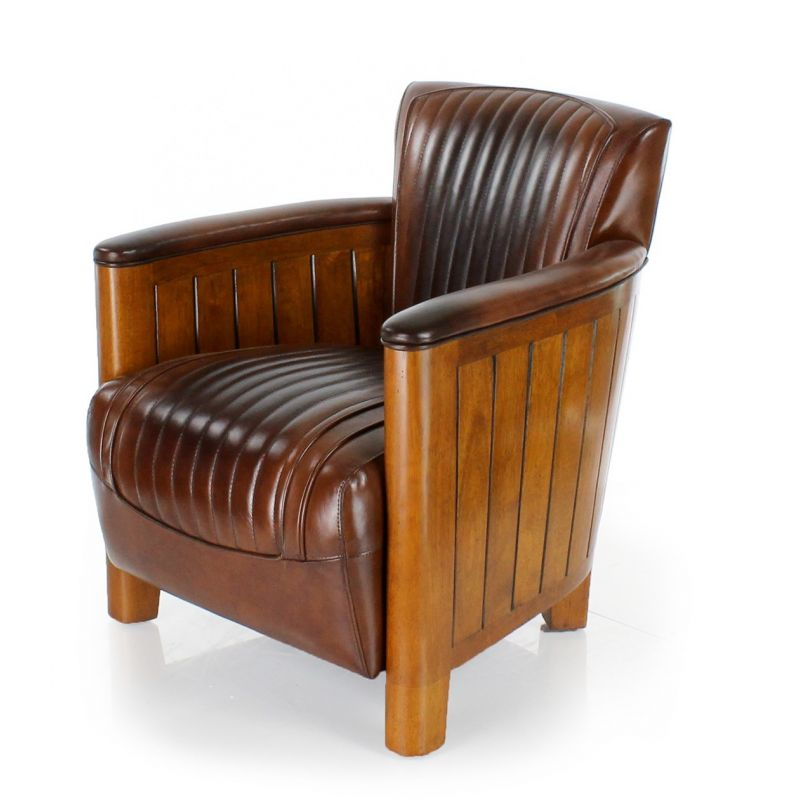 fauteuil club cuir marron vintage cognac saulaie. Black Bedroom Furniture Sets. Home Design Ideas