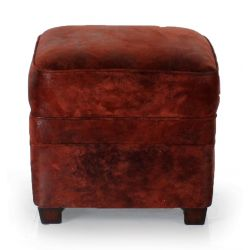 Red Vintage Fabric Ottoman - Alma
