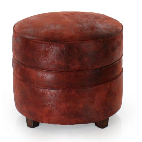 Round red fabric pouf -Opéra