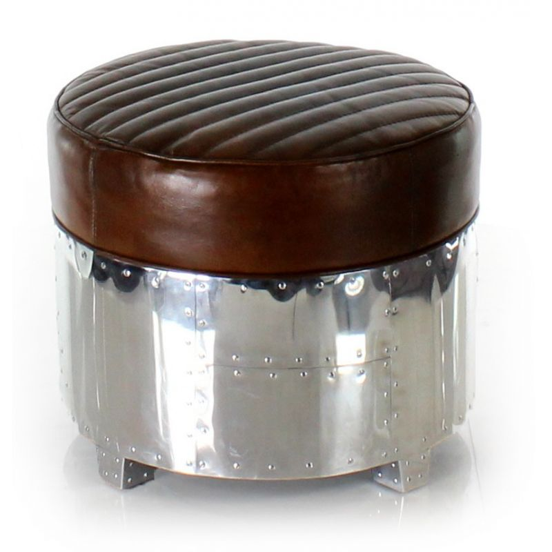 Vintage Round Aviator Ottoman in Aluminum and Brown Leather