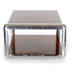Living room coffee table, wood and aluminum - Baron